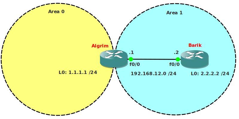 OSPF Stub Area Network Topology
